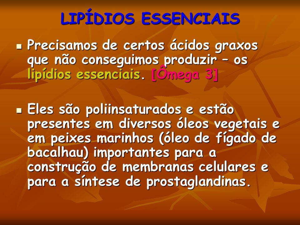 LIPÍDIOS ESSENCIAIS Precisamos de certos ácidos graxos que não conseguimos produzir – os lipídios essenciais. [Ômega 3]